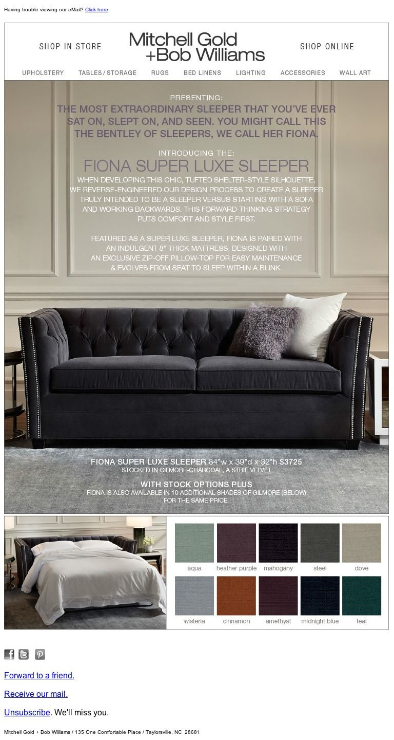 Mitchell gold sofa reviews - Mitchell Gold Bob Williams Introducing Fiona The Most Extraordinary Sleeper