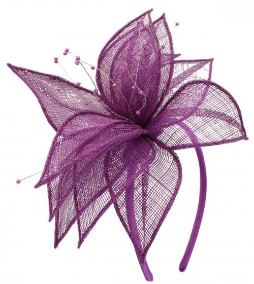 Elegance Collection Sinamay Leaf Fascinator in Purple (Bibi)
