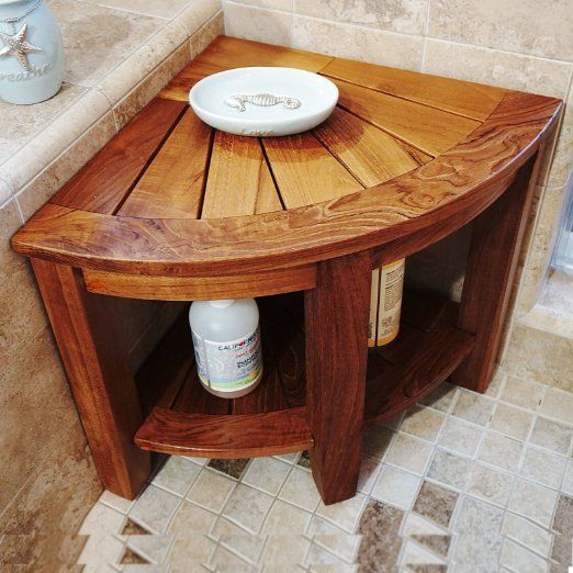 2 Tier Teak Corner Shower Bench With Storage Shelf Our Teak
