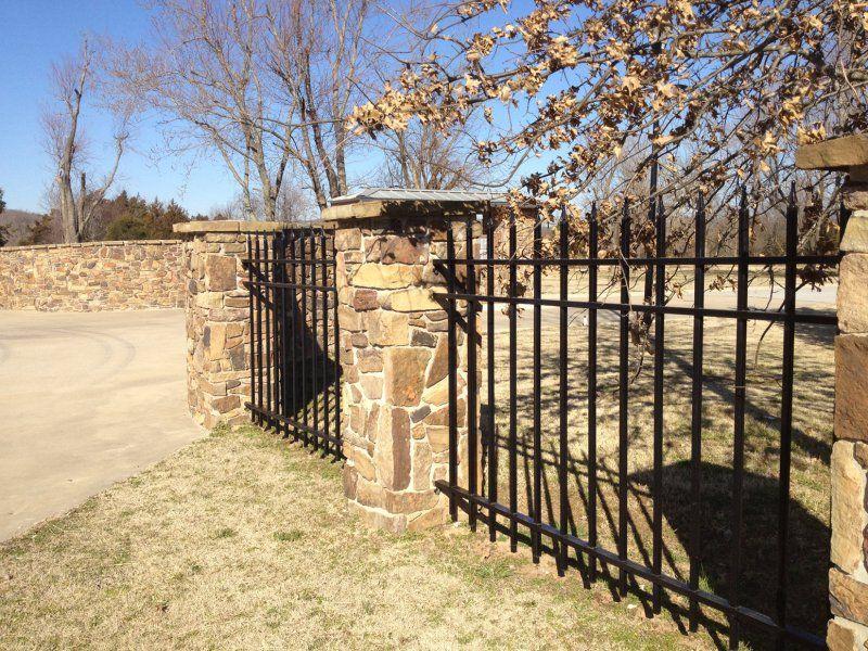 Stone Fence Pillars : Fence wrought iron with stone pillars house