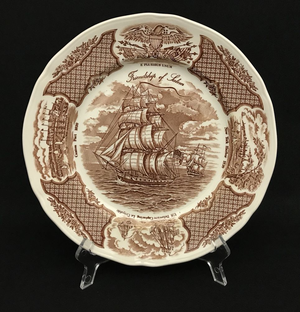 Fair Winds Friendship of Salem Plates Alfred Meakin Stafforshire  England