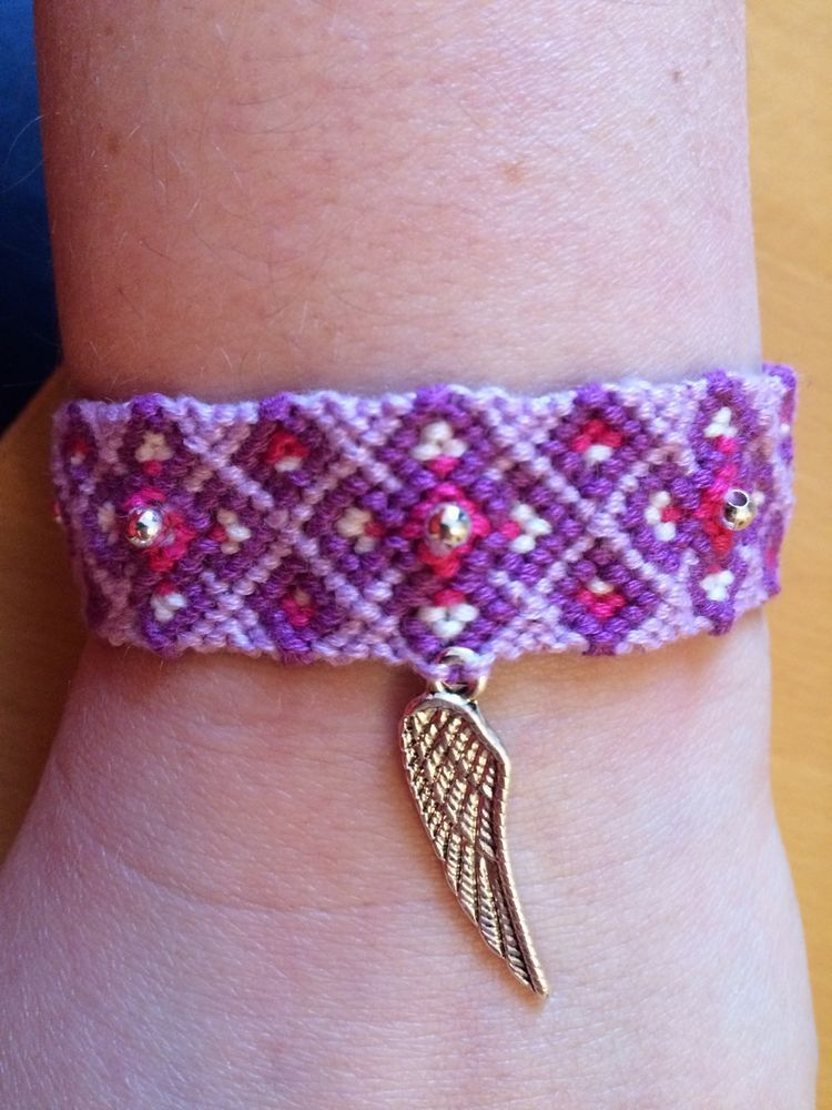 Handmade Threaded Friendship Bracelet With Beads And Silver Angel Wing Charm in Jewellery & Watches, Costume Jewellery, Bracelets | eBay!