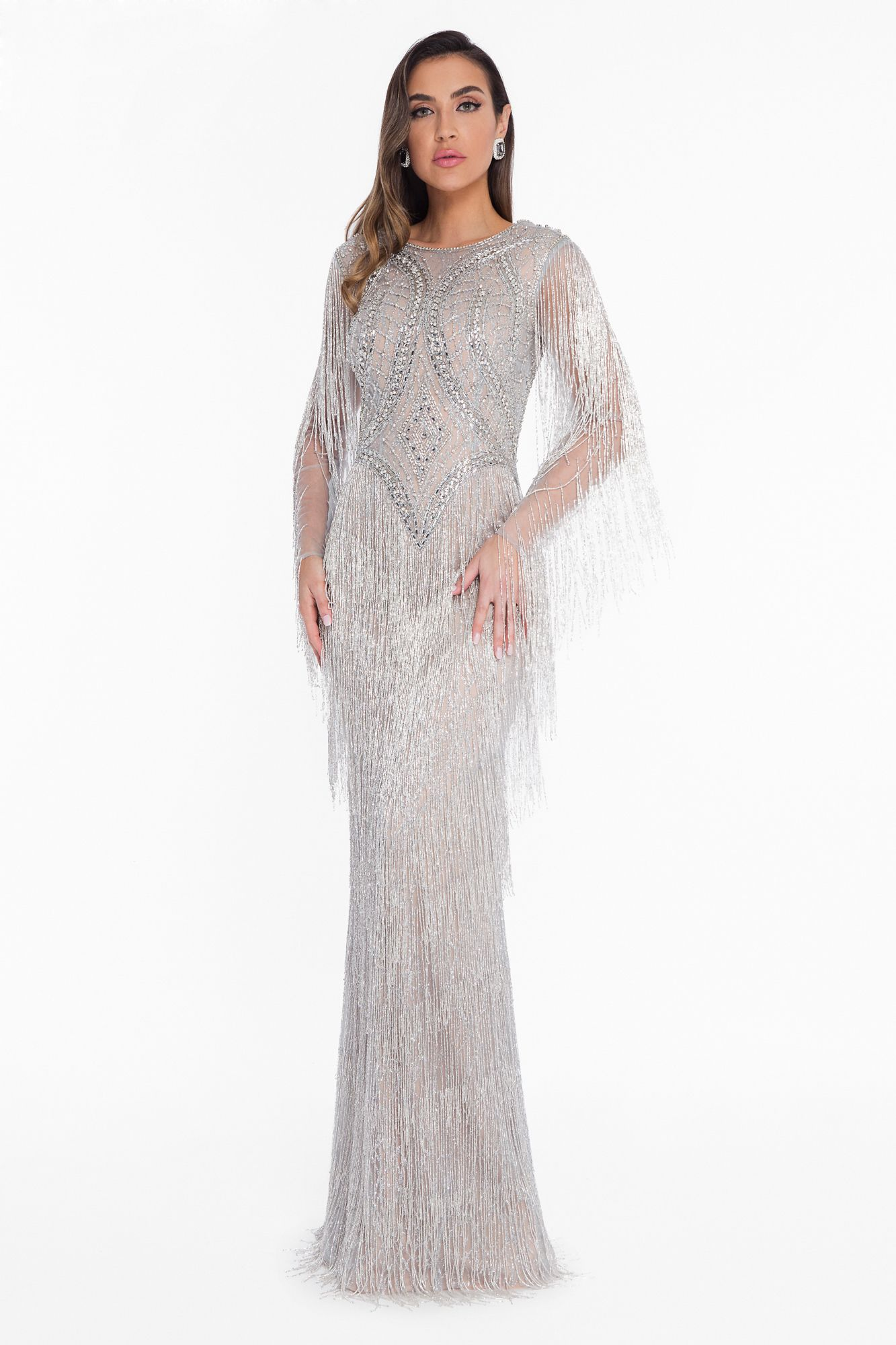 aaabf88da895 Dramatic and dazzling the Dripping Crystal Fringe Long Sleeve Evening Gown  by Terani Couture is the