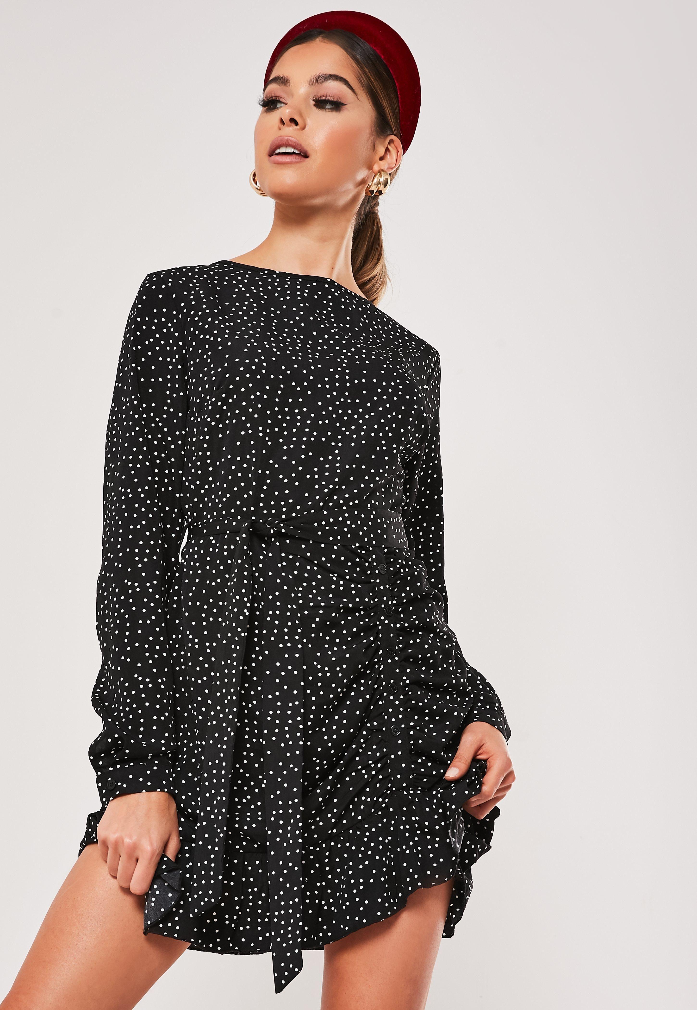 Black ruched button side polka dot tea dress sponsored