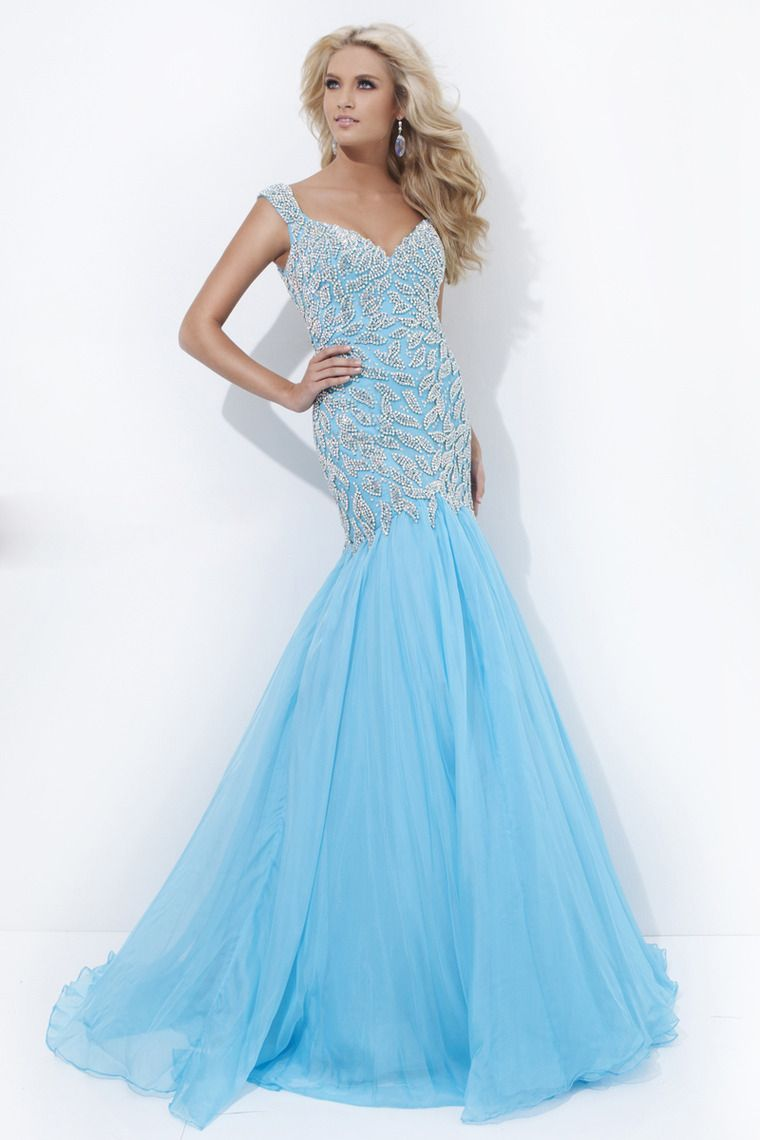 miraculous prom dress straps beaded bodice mermaid blue fancy