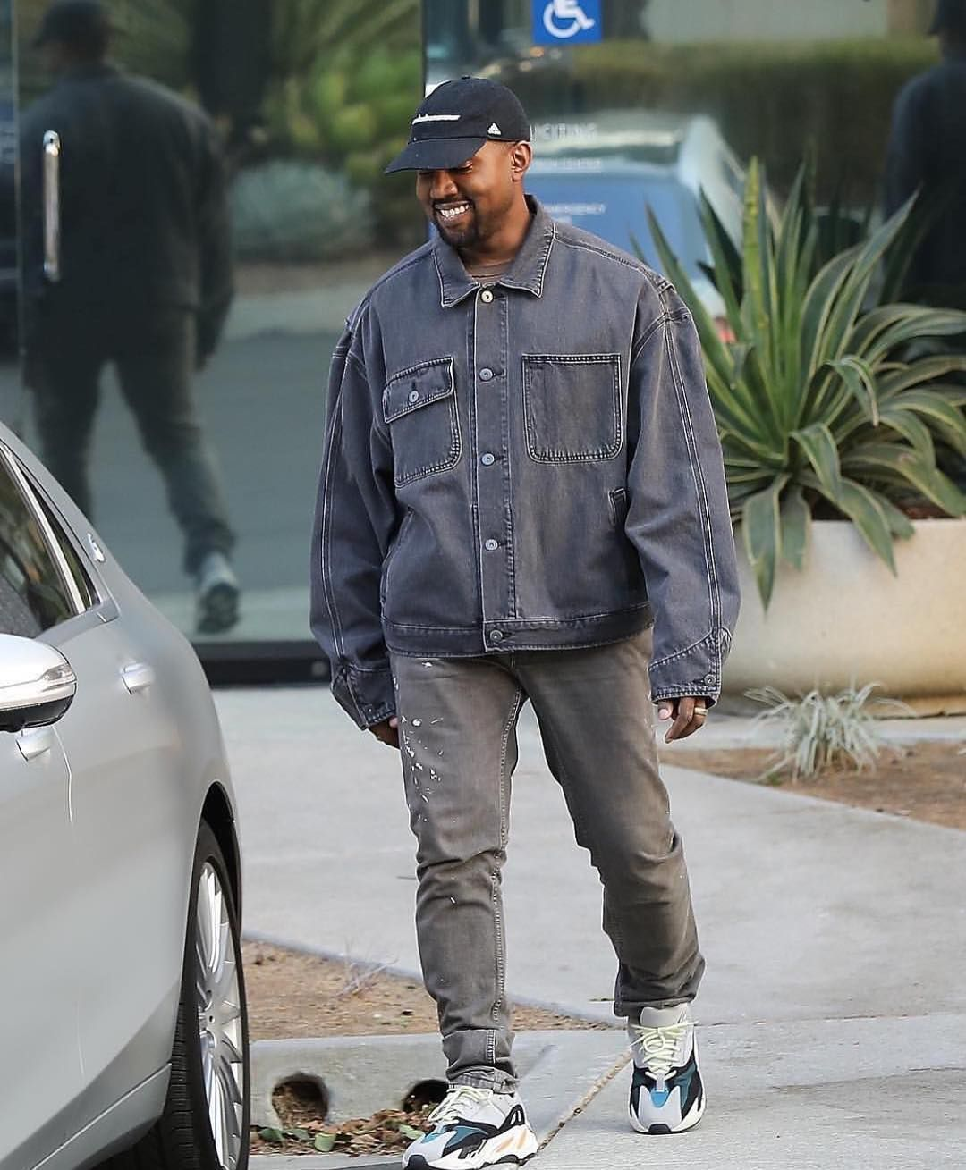 info for 7ba47 7fb9d Kanye West in Balenciaga Denim Jacket x YEEZY Wave Runner ...