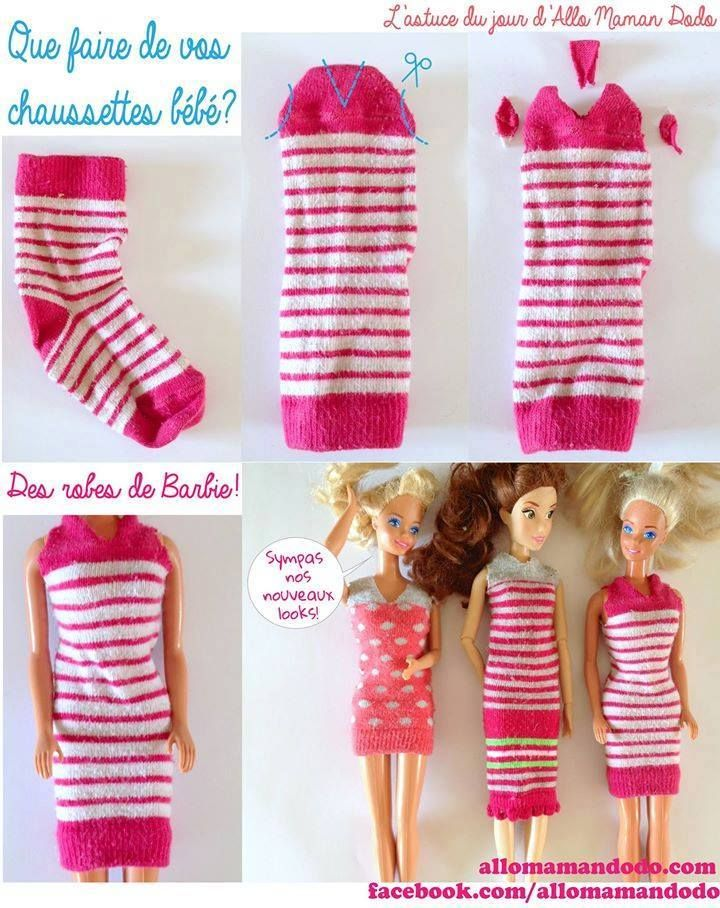 Barbie dress from sock | doll clothes | Pinterest | Umschläge ...