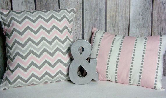 Nursery Pillow. Pink Pillow. Grey Pillow. Chevron Pillow.