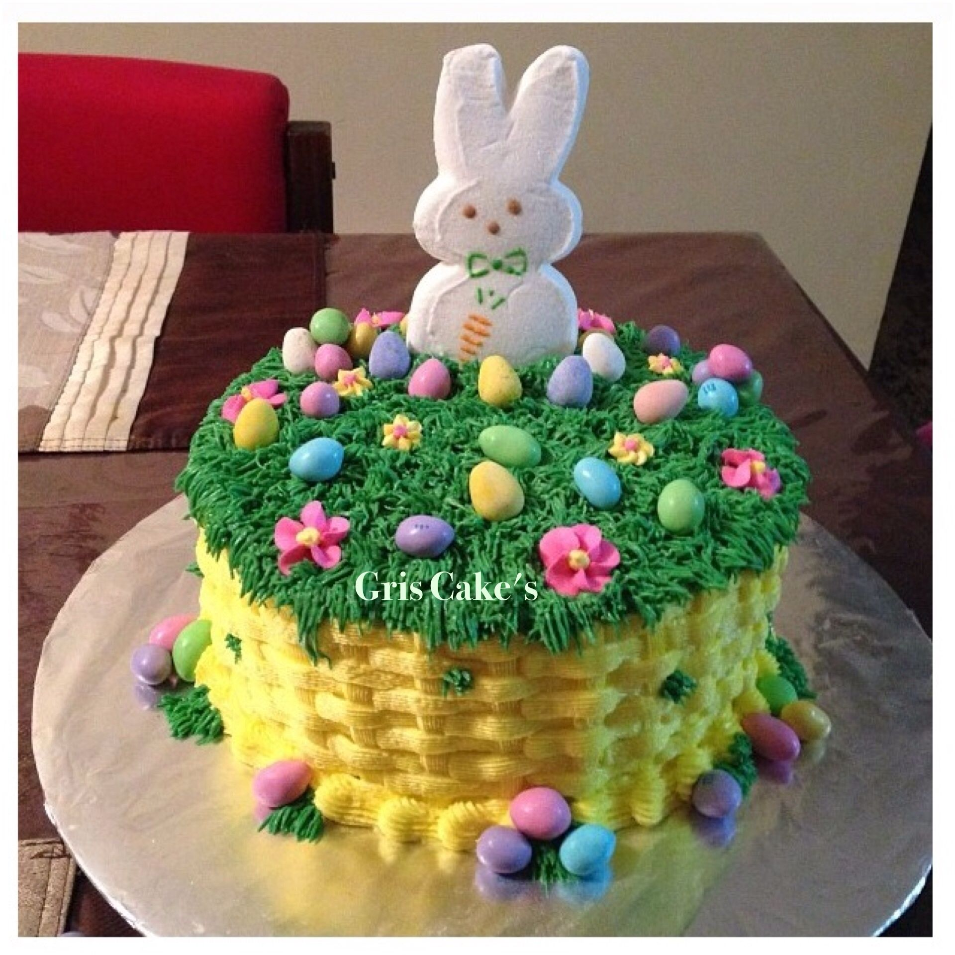 My First Easter Basket Cake Strawberry Flavor I Love It Easter Basket Cake Easter Cake Decorating Easter Cakes