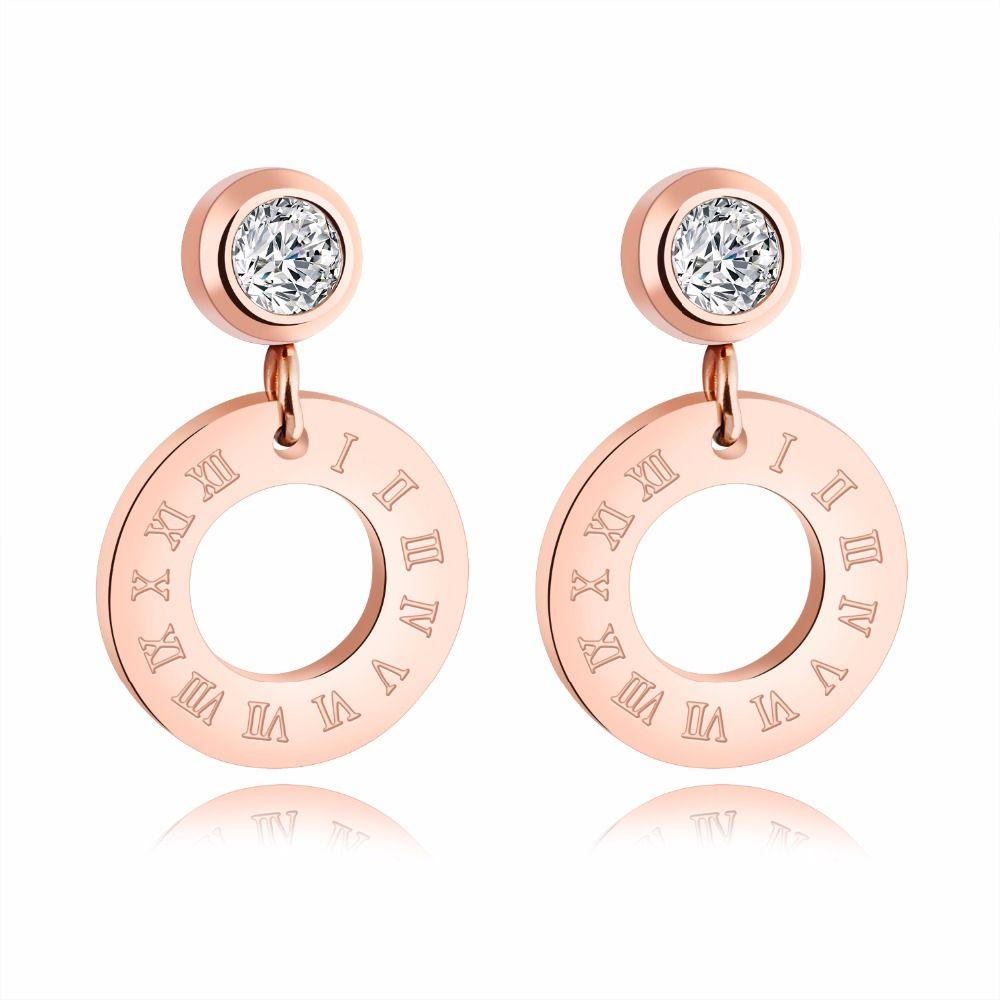 Stud Earring for Women,Roman Numerals Earring Stud Gold Silver Earring Stainless Steel Dangle Earring