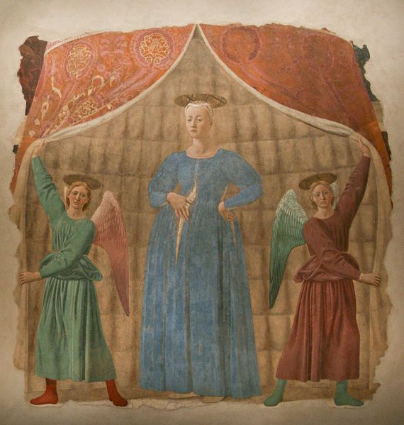 """""""Madonna del Parto"""" (Madonna Pregnant), by Piero della Francesca, in Monterchi, Tuscany... years ago, i admired her, sat in front of... one of my biggest artistic emotion... sublim painting..."""