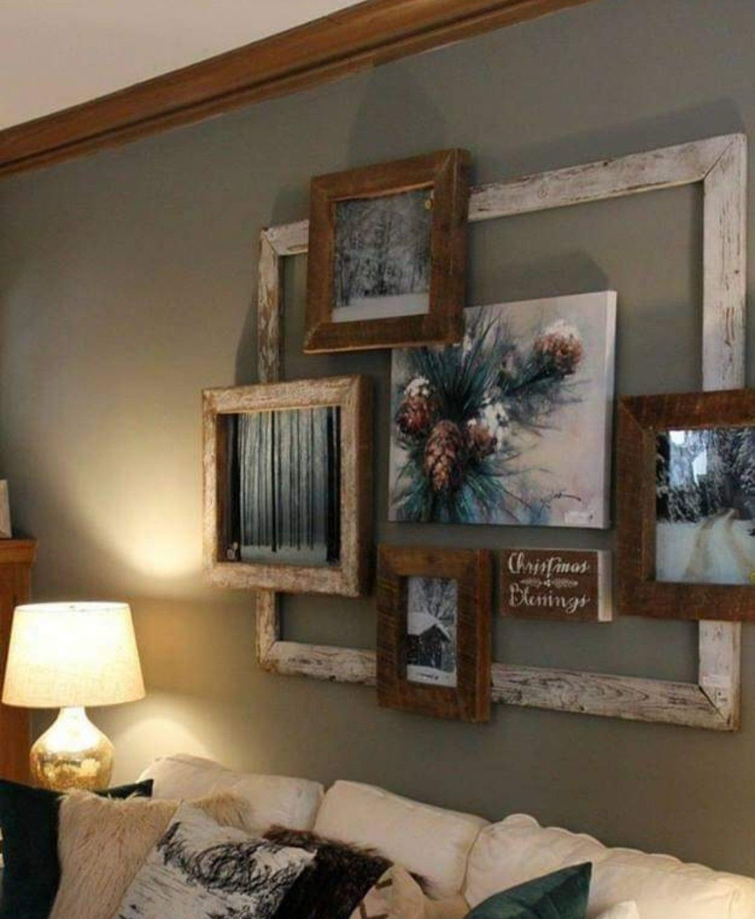 Base The Collage On The Season But Keep The Large Empty Frame For All Wall Decor Living Room Empty Frames Decor Decor