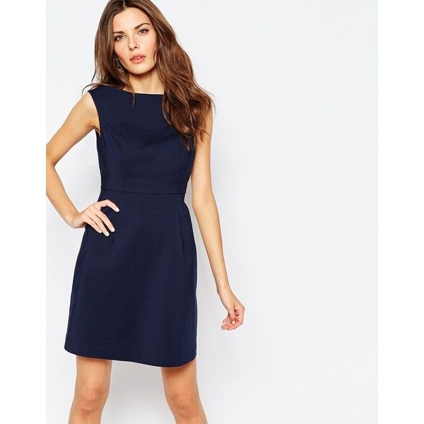 Vila Structured Skater Dress (94 AUD) ❤ liked on Polyvore featuring dresses, navy, white cotton dress, boat neck dress, boatneck dress, zipper dress and stretch dress
