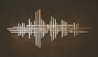 Large Abstract Metal Sculpture Wall Art Square Tubing Silver Jere