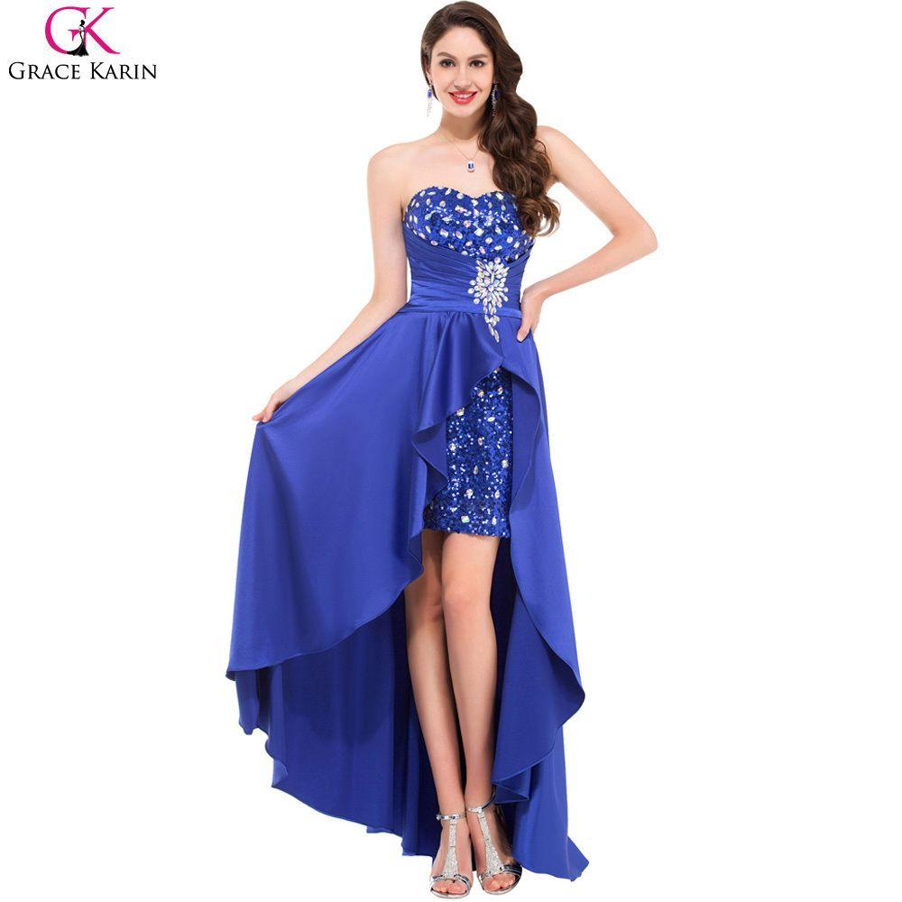 bf4ede437350 Grace Karin Evening Dresses 2017 Royal Blue Short Front Long Back Beaded  Prom Dress Satin Evening Gown Luxury Rhinestone Dress #Affiliate