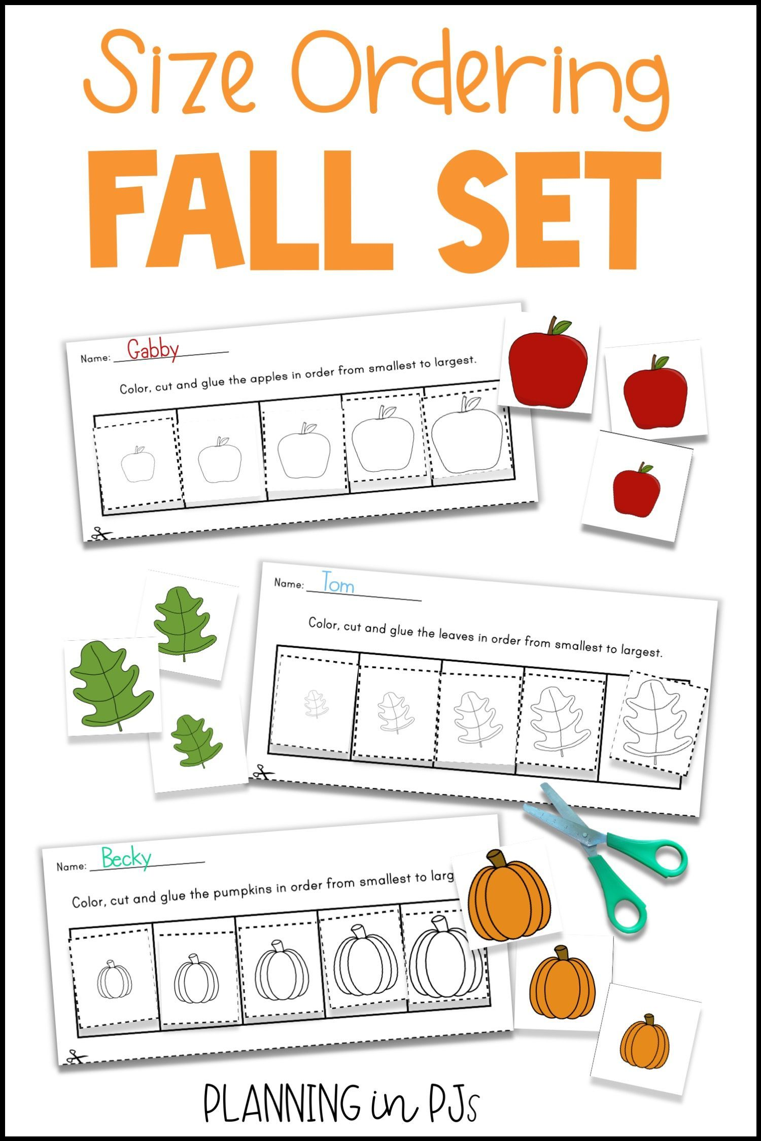 Fall Size Ordering Bundle For Autumn From Smallest To Largest Fall Kindergarten Activities Fall Kindergarten Autumn Activities For Kids [ 2249 x 1500 Pixel ]