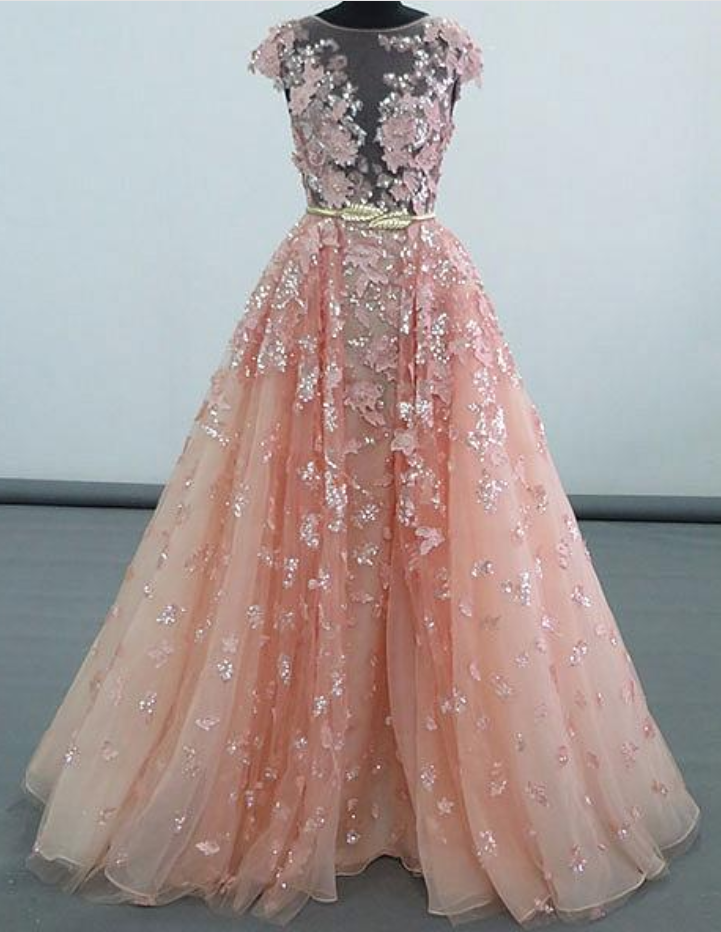 4300f7fda663a Simple Prom Dresses,New Prom Gown,Vintage Prom Gowns,Pink Lace Sequins Long Prom  Gown, Pink Evening on Luulla