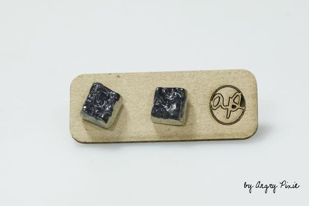 Handmade Ceramic Stud Earrings – Ceramic earrings little squares shiny black. Handmade by Angry Pixie. £8.75  angrypixie.co