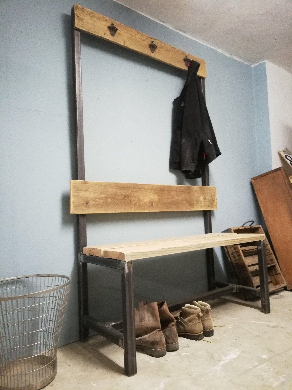 Garderobe Umkleide Industrial Bauholz Metall Flur Loft Garderobe