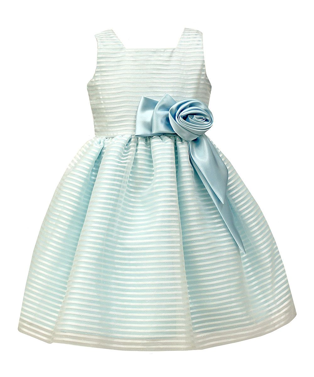 Blue Stripe-Overlay A-Line Dress - Toddler & Girls | Products