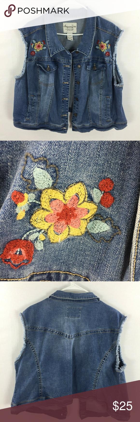 f386635fc74d4e American Rag Cie embroidered jean vest 3x American rag cie floral  embroidered sleeveless jean vest.