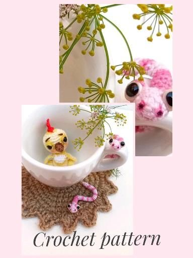 Crochet chick, worm and Letucce leaf patterns. Cro