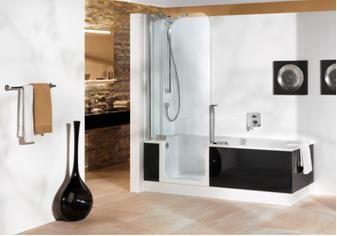 Douchen in ligbad met de bad douche combinatie van artweger