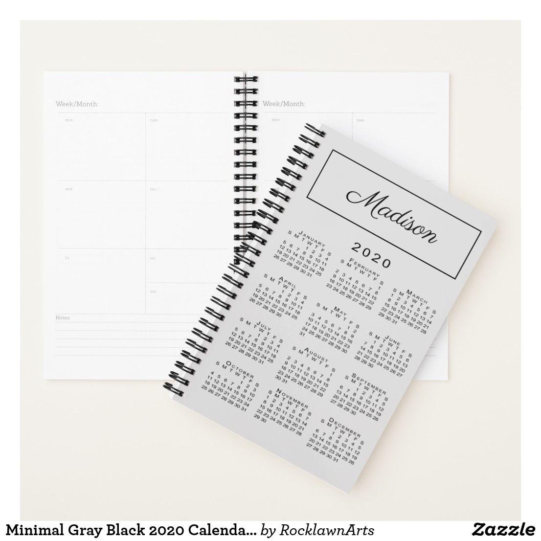 Minimal Gray Black 2020 Calendar Script Name Planner