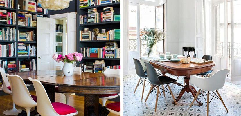 Decorar con mesas antiguas y sillas modernas