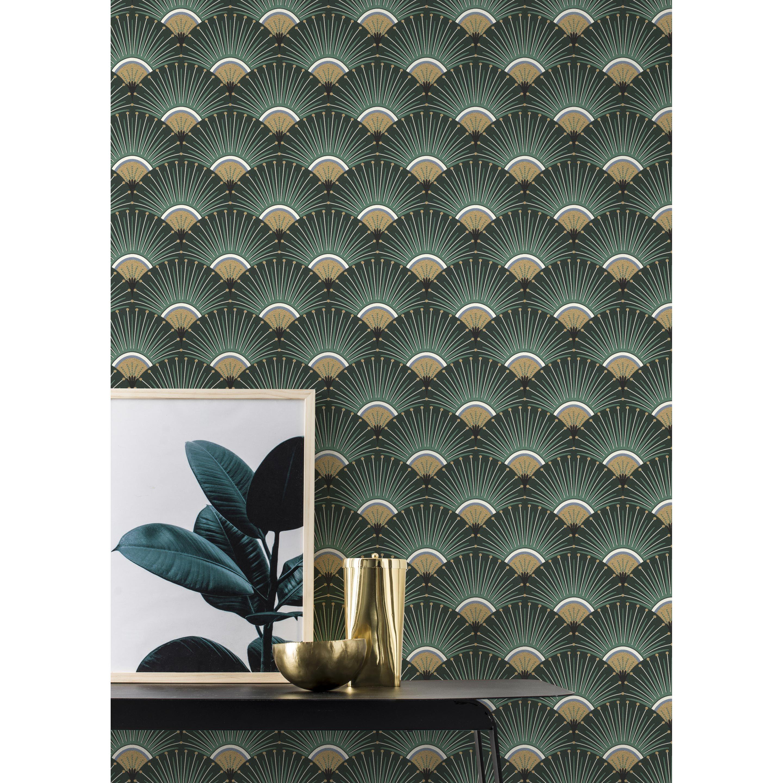 Leroy Merlin Papier Peint Salle De Bain papier peint vinyle sur intissé palmettes art deco vert en