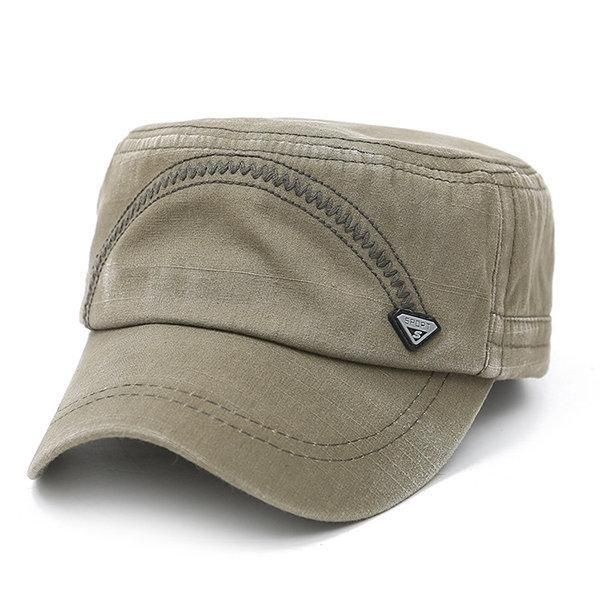 a9e625847 Mens Washed Cotton Solid Flat Top Cap Spring Outdoor Military ...