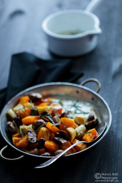 Roasted Pumpkin, Parsnips, & Mushrooms in Creamy Sage & Mustard Sauce | What's For Lunch Honey?
