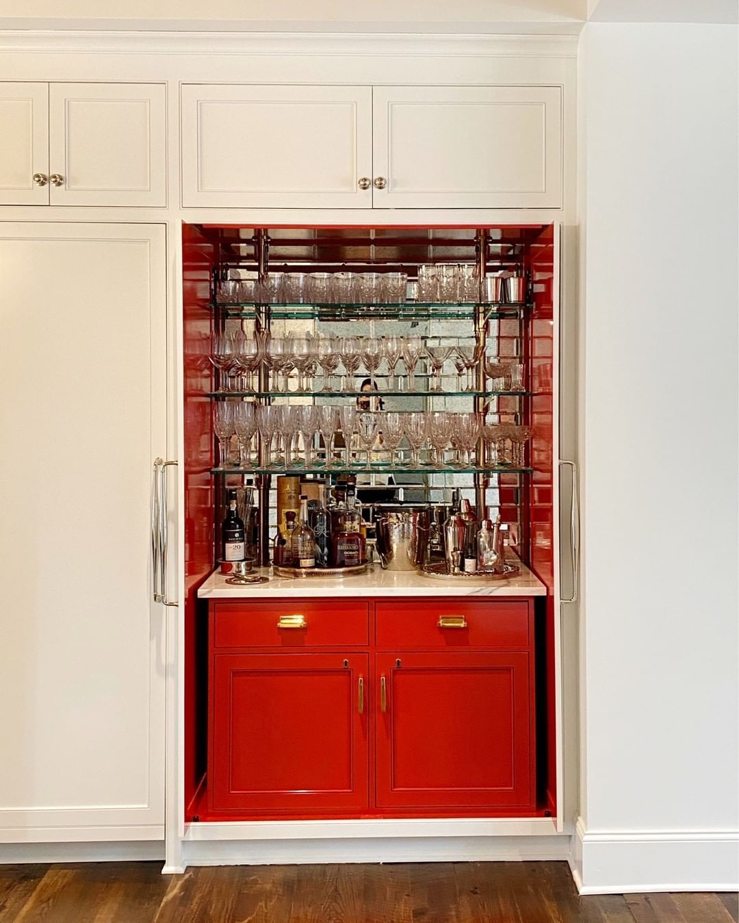 Anne Wagoner Interiors On Instagram Our Clients Love Pops Of Color We Re Using Their Hidden Bar As Inspiration For The Res In 2020 Hidden Bar Bar Furniture Interior