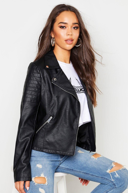 Faux Leather Biker Jacket Boohoo Faux Leather Biker Jacket Leather Jacket Girl Womens Black Leather Jacket