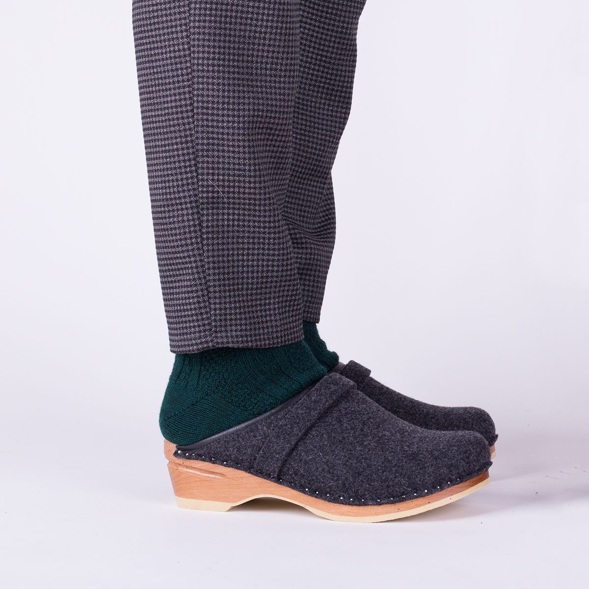 f809f33d0919 Classic Swedish clog style in grey wool felt. Made on our varnished  original bottoms.  troentorp
