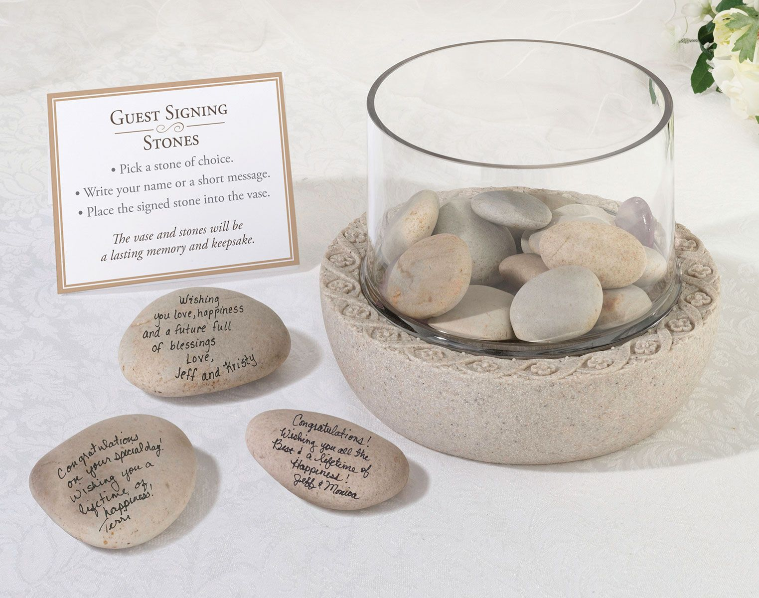 Unik Occasions - Lillian Rose Glass Vase for Signing Stones Guests ...
