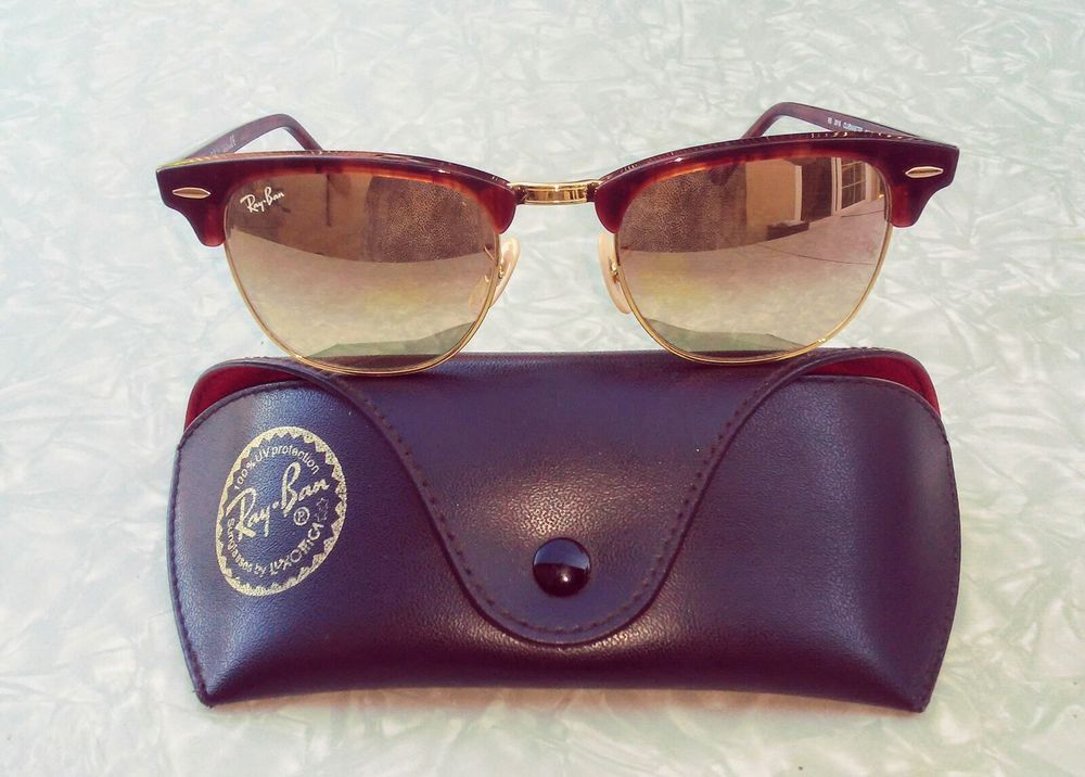 05bd93191a354 Ray-Ban Clubmaster Sunglasses Tortoise RB3016 990 70 Gold Flash Lens with  case  RayBan  Square