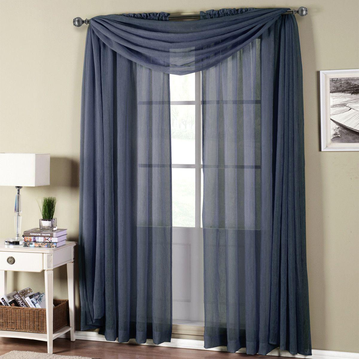 Abri Navy Rod Pocket Crushed Sheer Curtain Panel