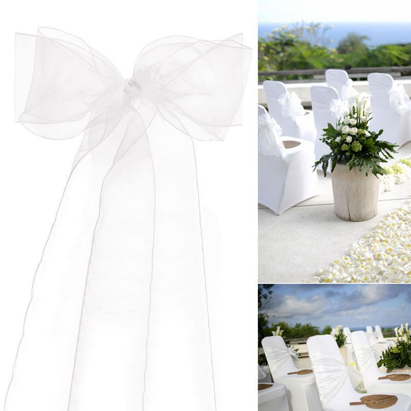 Chair Covers And Bows Ebay Diy Lawn Cushions 0 99 White Organza Cover Sashes Bow Wedding Party Birthday Decor Home Garden