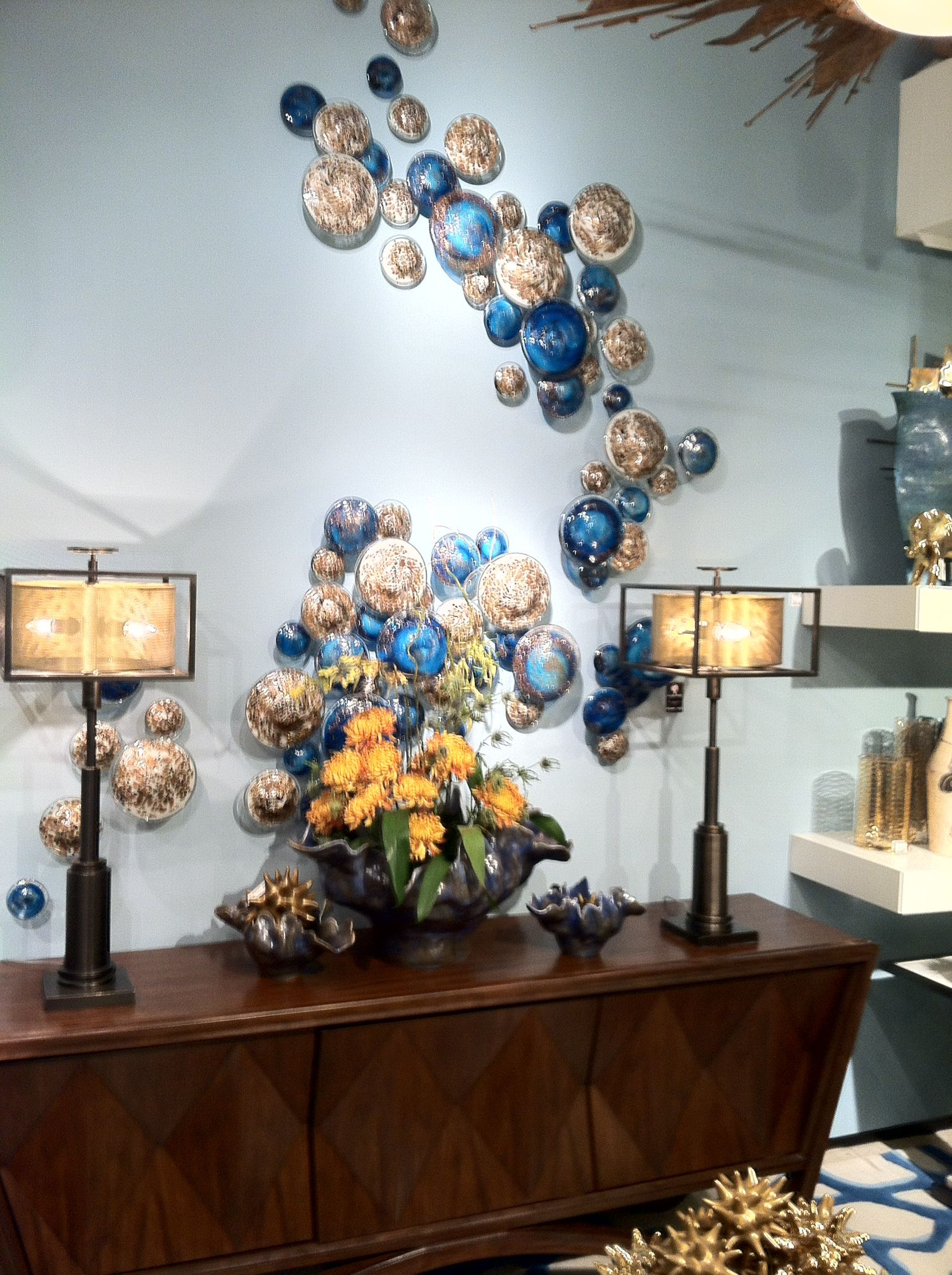 A Fanciful Wall Display Featuring Blown Glass Mushrooms From Global Views Hpmkt Blown Glass Wall Art Glass Wall Art Fused Glass Wall Art