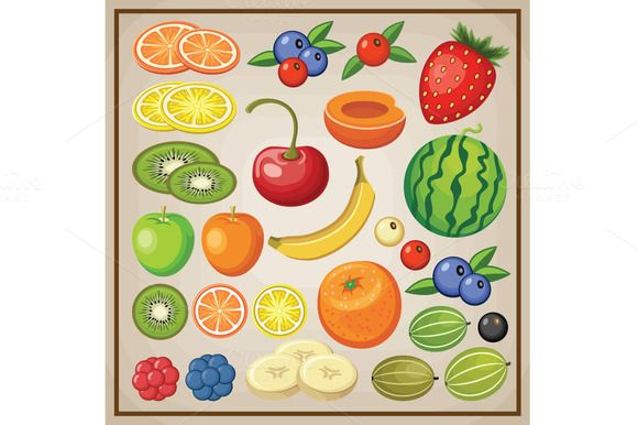 Set of Fruits by GurZZZa on Creative Market