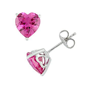 Sterling Silver Lab Created Pink Shire Heart Stud Earrings Kohls Love