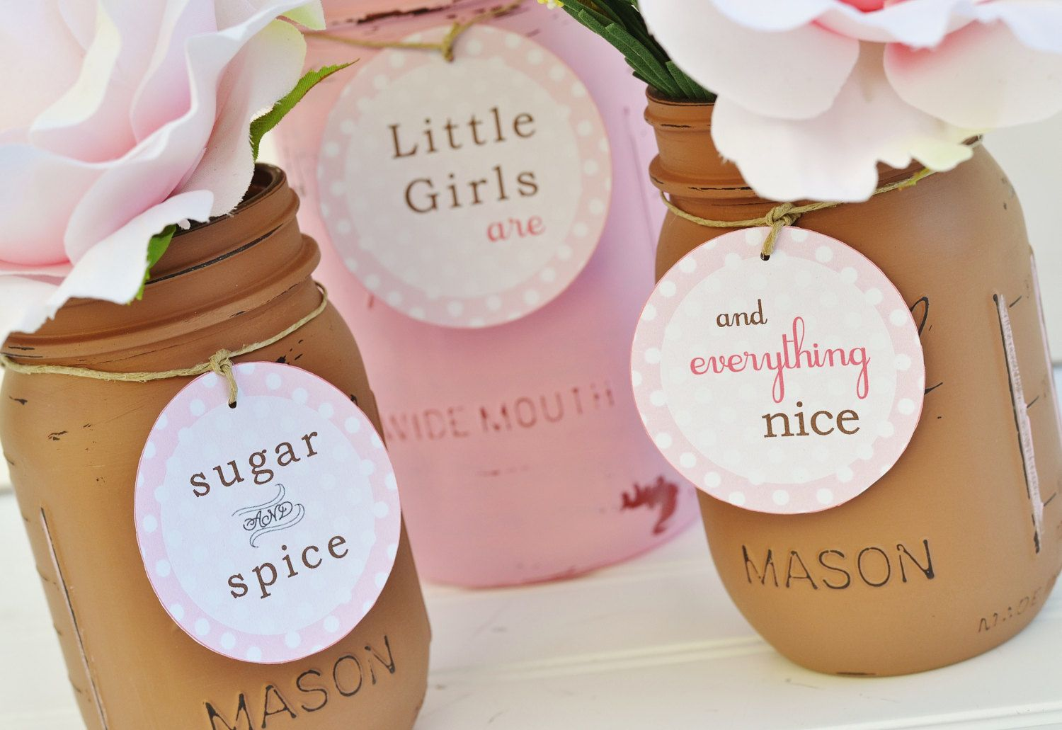 Baby Shower Decorations – Baby Shower Decor – PINK AND BROWN – Sugar & Spice and Everything Nice – Baby Girl, Mason Jar Centerpiece