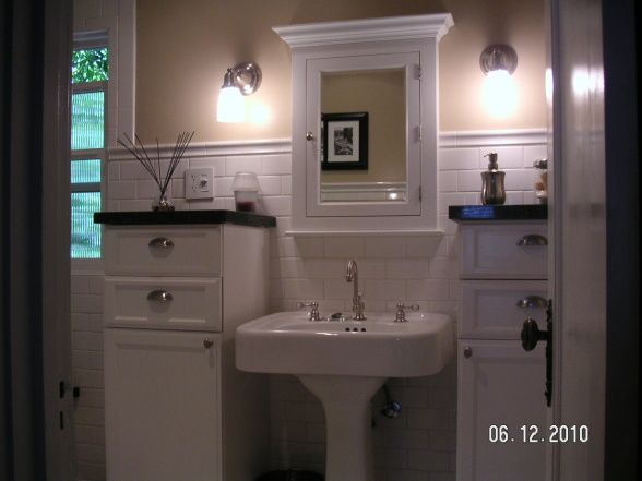 Nice Storage With A Pedestal Sink With Images White Bathroom