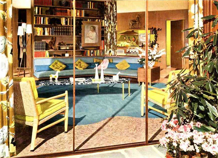 50s Living Room Soothing Modern Color Ideas From A 1954 Armstrong Ad