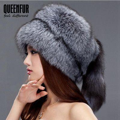 17f59be8 QUEENFUR Winter Women Fur Cap Real Fox Fur Hats Headgear Russian Outdoor  Girls Raccoon Fur Beanies Cap New Fashion Fur Hat