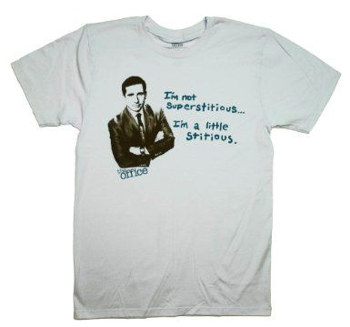 a2ec7d6a Amazon.com: The Office Michael Scott Not Superstitious Funny TV Show T-Shirt  Tee Select Shirt Size: XX-Large: Clothing