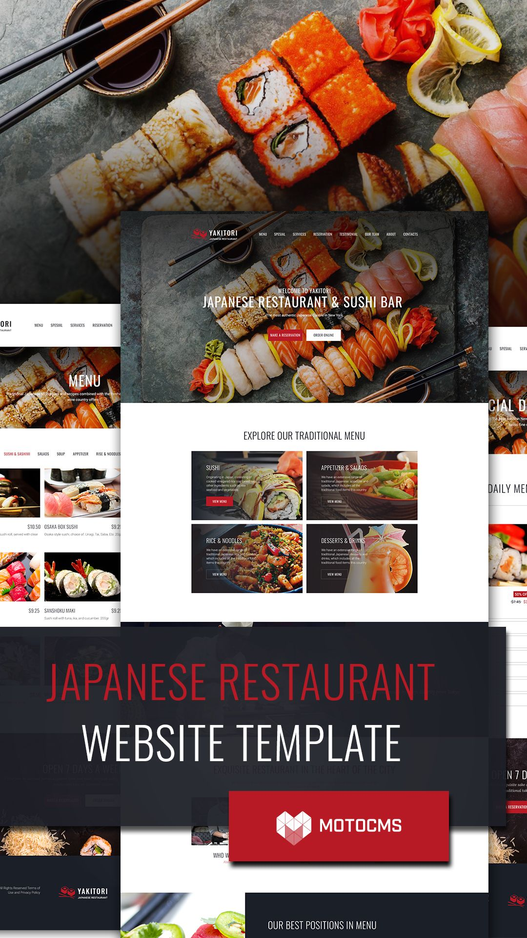 japanese sushi restaurant website template food website