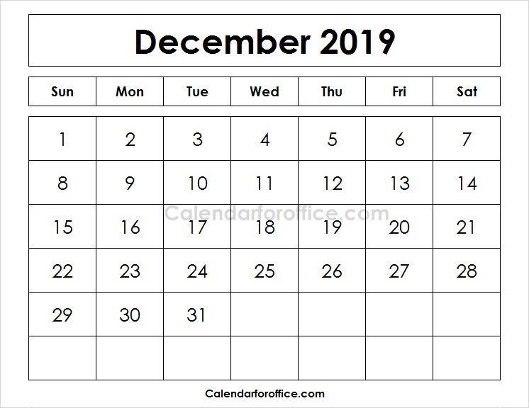 Blank Printable Calendar  December   Calendar