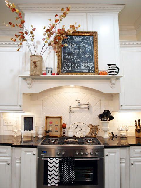 decorating for the seasons in julies white kitchen - Kitchen Range Hood Ideas